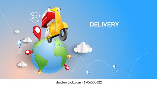 Paper art of delivery by yellow scooter and pinned location world. Origami E-commerce and Online order infographic concept. Perspective vector art and illustration.