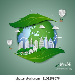 Paper art design of eco friendly and save the environment conservation concept,clean city on leaf shape abstract background,vector illustration