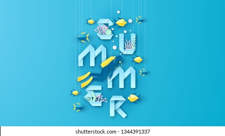 Paper art design of underwater world with diver, fish, coral and word SUMMER paper calligraphy decoration. Graphic design for Summer. paper cut and craft style. vector, illustration.