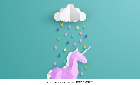 paper art design Unicorn in the rainy season. on lovely colors. Unicorn cute illustration in paper art style. Paper craft and cut style. vector, illustration.