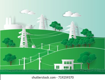 Paper art of Diagrams for supplying power from industrial power plants to environmentally friendly homes, vector and illustration.