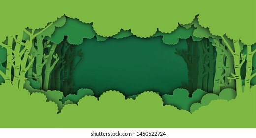 Paper art and digital craft style of Eco green nature background, forest plantation as ecology and environment conservation creative idea concept. Vector illustration.