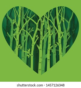 Paper art and digital craft style of Heart Eco green nature background, forest plantation as ecology and environment conservation creative idea concept. Vector illustration.