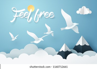 Paper art of Feel free calligraphy hand lettering and flying dove, vector art and illustration.