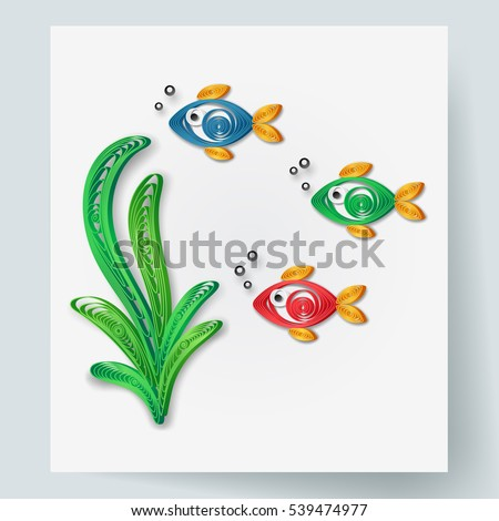 Paper Art Fish Alga Quilling Style Stock Vector Royalty Free