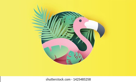 Paper art of flamingo and tropical leaves in a circle shape frame. Graphic design for Summer. paper cut and craft style. vector, illustration.