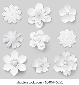 Paper art flowers isolated. Set - vector stock.