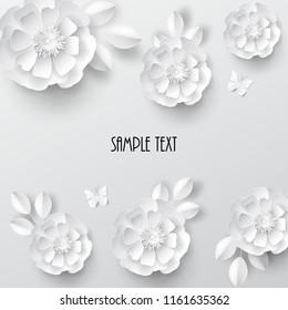 Paper art flowers. Vector stock.