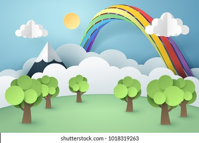 Paper art of forest and rainbow, world sustainable environment friendly idea, vector art and illustration.