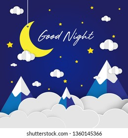 Paper art of Goodnight and sweet dream, Stars and night sky, night and origami mobile concept, yellow moon with white clouds and stars on blue background, vector illustration.