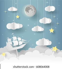 Paper art of Goodnight and sweet dream, night and origami mobile concept, vector art and illustration. The frigates float under the moon.