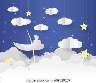 Paper art of Goodnight and sweet dream, night and origami mobile concept, vector art and illustration. The fisherman float under the moon.