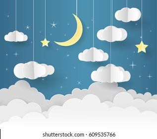 Paper art of Goodnight and sweet dream, night and origami mobile concept, vector art and illustration.