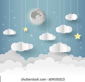 Paper art of Goodnight and sweet dream, night and origami mobile concept, vector art and illustration. Paper style.