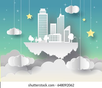 Paper art of Goodnight and sweet dream, night and origami mobile concept, vector art and illustration. Flying city in the clouds.
