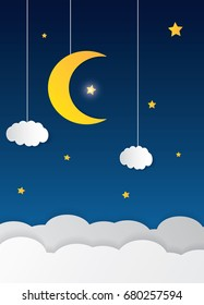 Paper Art Of Goodnight And Sweet Dream Night Origami Mobile Concept Vector