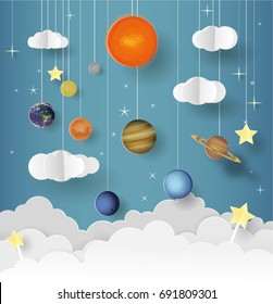 Paper art of Goodnight and sweet dream, origami mobile concept, vector art and illustration.Solar system for the children's room.Science concept inspiration. ?artoon realistic trendy craft style.