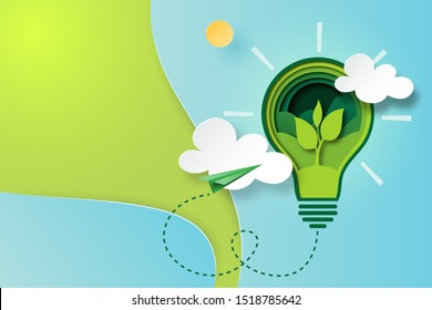 Paper art of green ecology and save energy for environment conservation concept landing page website template background.Vector illustration.