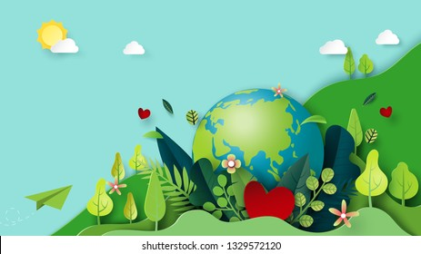 Paper art of green nature and earth day concept background template.Ecology and environment conservation concept.Vector illustration.