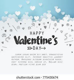 Paper art of group of heart combine to be the cloud with doodles love icon and copy space, origami and happy valentine's day concept, vector art and illustration.