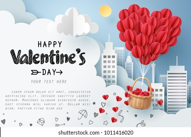 Paper art of group of red balloons combine to heart shape with doodles love icon and copy space, origami and happy valentine's day concept, vector art and illustration.