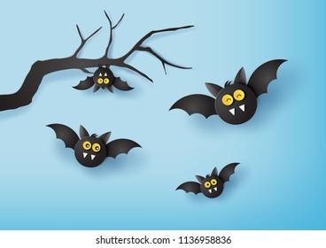 paper art of Happy Halloween  with paper bat.