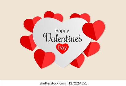 Paper art of Happy Valentine's Day text on white heart with red heart on light orange background