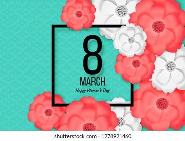 Paper Art of Happy Women's Day or International Women's Day Festival, Spring Flower Background Vector