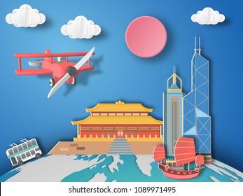 Paper art Hongkong, China infographic . Airplane flying to hongkong.