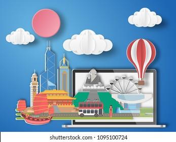 Paper art Hongkong,China infographic . China cityscape with labtop .