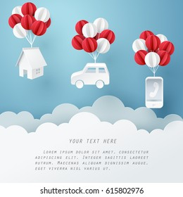 Paper art of house, car and mobile phone hanging with balloon, business and asset management concept and paper art idea, vector art and illustration.