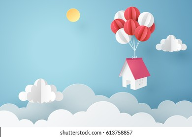 Paper art of house hanging with colorful balloon, business concept and asset management idea, vector art and illustration.