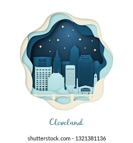 Paper art illustration of Cleveland. Origami concept. Night city with stars. Vector illustration.