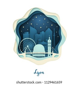 Paper art illustration of Lyon. Origami concept. Night city with stars. Vector illustration.