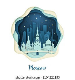 Paper art illustration of Moscow. Origami concept. Night city with stars. Vector illustration.
