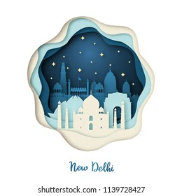 Paper art illustration of New Delhi. Origami concept. Night city with stars. Vector illustration.
