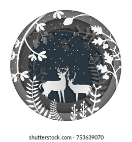 paper art illustrations. the beauty of Christmas and New Year. There are deer and snow.