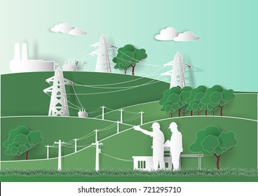 Paper art industrial, engineer and construction team look Diagrams for supplying power from industrial power plants to environmentally friendly homes Vector illustration