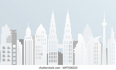Paper art of Kuala Lupur city skyline