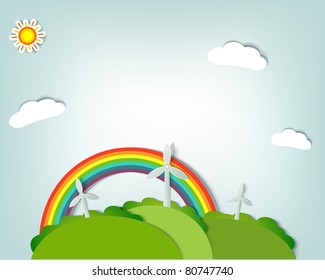 paper art landscape with rainbow and windmills. Vector paper cut illustration
