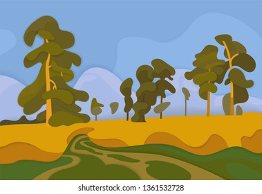 Paper art of Landscape with rye and pine trees.Vector illustration
