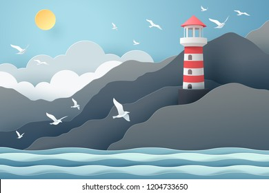 Paper art of Lighthouse and sea, origami and travel concept, vector art and illustration.