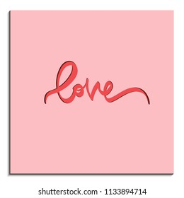 Paper art of love lettering on pink background vector card. Typography design elements for prints, cards, posters, products packaging, branding.