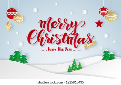 Paper art of Merry Christmas and Happy New Year greeting card. vector origami illustration.