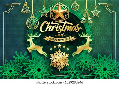 Paper art of Merry Christmas and happy new year calligraphy hand write with golden star and snow flakes.
