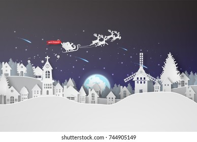 Paper art of Merry Christmas at night background,vector,illustration