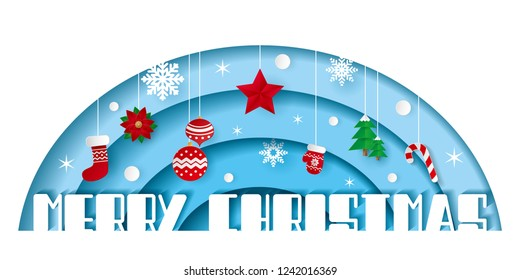 Paper art of Merry Christmas on blue background with star, snowflakes, Christmas balls, trees, candy, glove, sock, and poinsettia. vector origami  illustration.