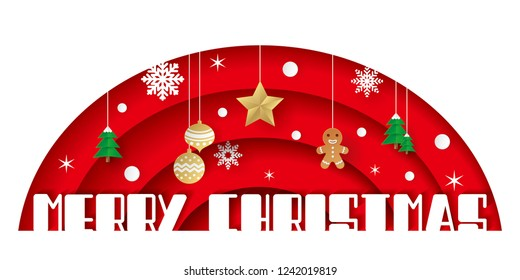 Paper art of Merry Christmas on red background with star, snowflakes, Christmas balls, trees and gingerbread Man. vector origami illustration.