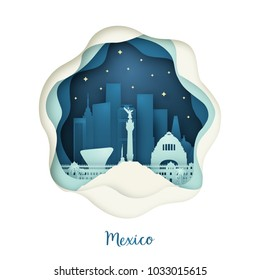 Paper art of Mexico. Origami concept. Night city with stars. Vector illustration.