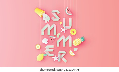 Paper art of mixed fruit juice and tropical fruit hanging from top decorated with paper calligraphy SUMMER. Graphic design for Summer. paper cut and craft style. vector, illustration.